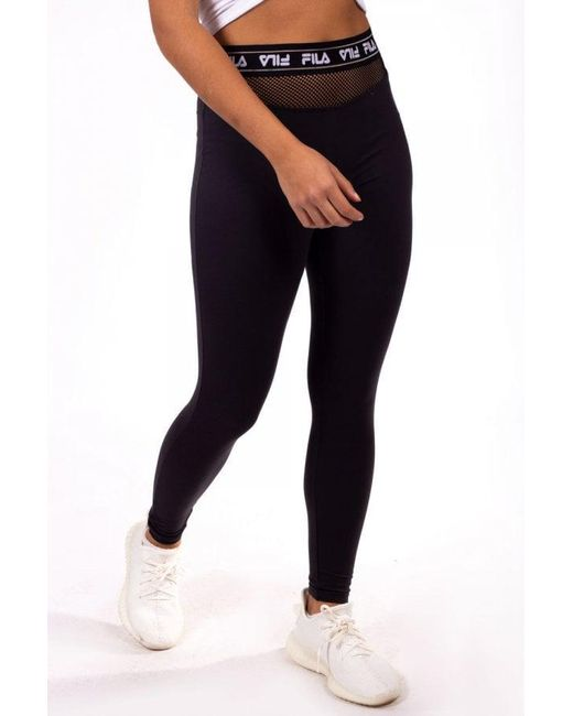Fila - Black Women s Olga Mesh Insert Legging - Lyst ... 49569fd38134