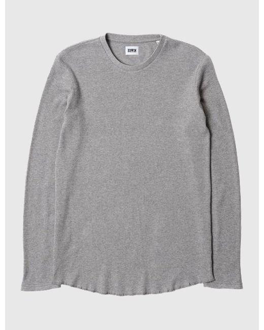 Edwin - Gray Waffle Long Sleeve T-shirt (marl) for Men - Lyst