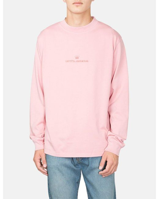 Stussy - Pink Overdyed Mock Neck Long Sleeve T-shirt for Men - Lyst