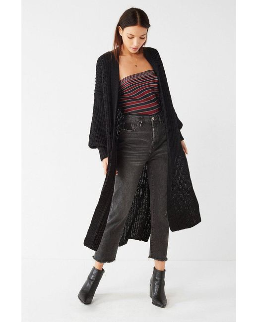 Urban outfitters Uo Paige Maxi Cardigan in Black | Lyst
