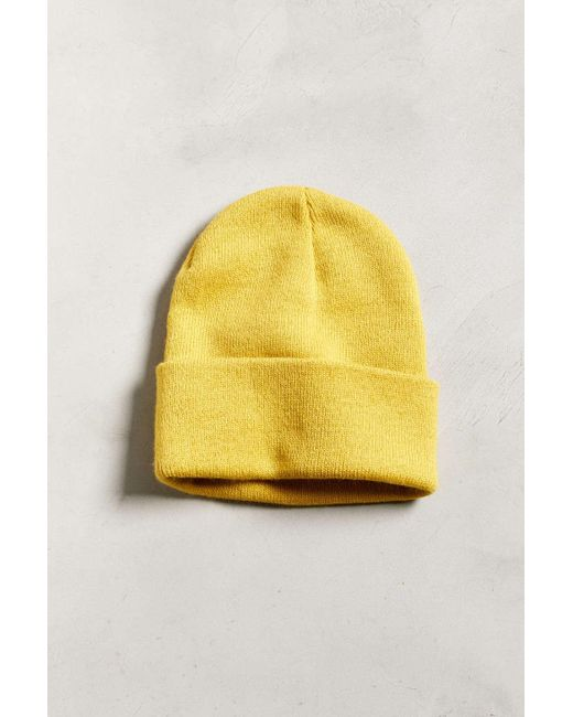 Urban Outfitters - Yellow Uo Essential Knit Beanie for Men - Lyst ... 027035146f3