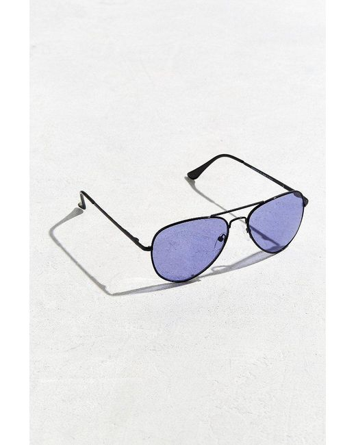 Urban Outfitters | Black Purple Knoxville Aviator Sunglasses | Lyst