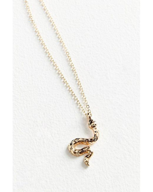 Urban Outfitters - Metallic Simple Snake Charm Necklace - Lyst