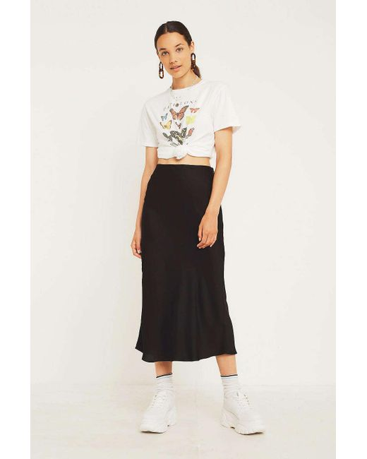 92e51e92c9 Urban Outfitters - Uo Black Satin Bias-cut Midi Skirt - Womens Xs - Lyst ...