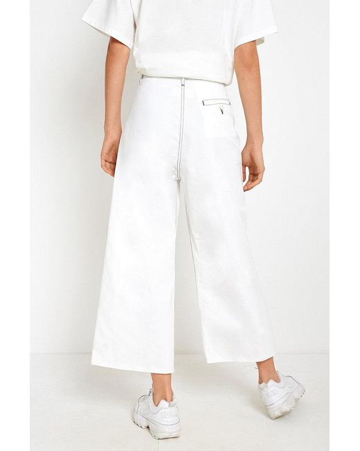 ... MM6 by Maison Martin Margiela - Mm6 White Oversized Contrast Stitch  Culottes - Lyst ...