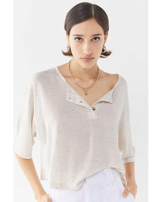 Truly Madly Deeply - White Short Sleeve Henley Cropped Top - Lyst