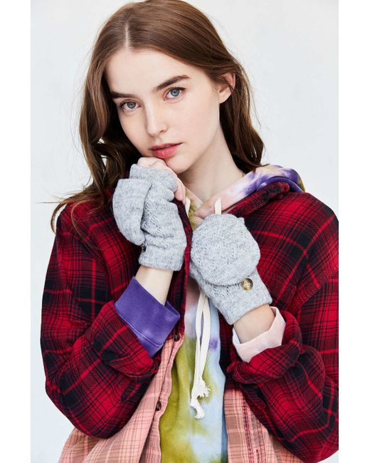 Urban Outfitters | Gray Plush Convertible Fingerless Glove | Lyst