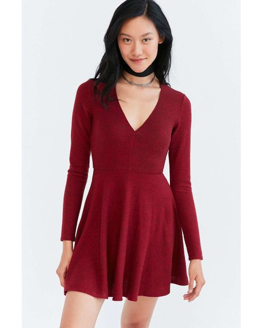 Kimchi Blue | Red Cozy Plunging Fit + Flare Mini Dress | Lyst
