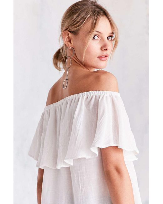 Kimchi Blue Erin Off The Shoulder Ruffle Top In White Lyst