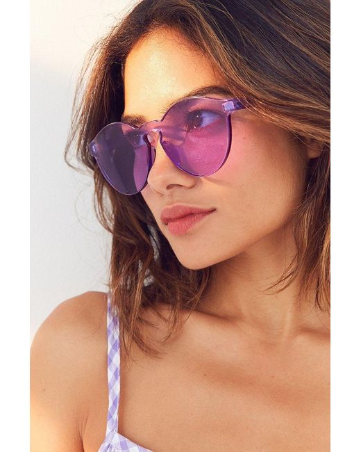 Urban Outfitters | Purple Translucent Monocut Round Sunglasses | Lyst
