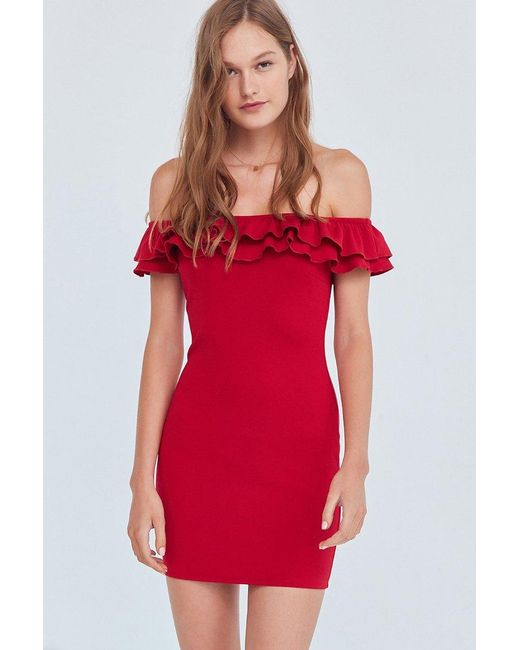 Silence + Noise | Red Off-the-shoulder Ruffle Ponte Dress | Lyst