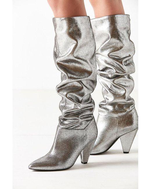 Urban Outfitters   Metallic Tess Glitter Scrunch Knee-high Boot   Lyst