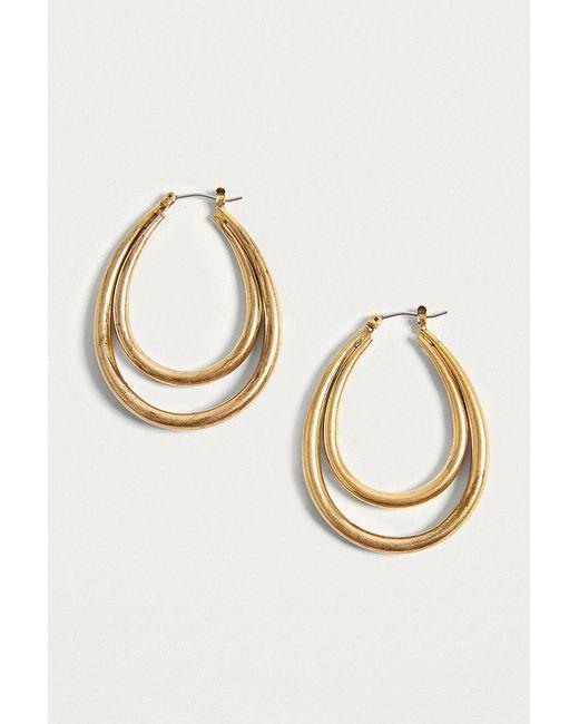 Urban Outfitters | Metallic Vintage Inspired Long Double Hoop Earrings | Lyst