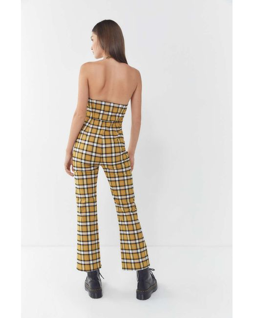 03b929ba18d ... Urban Outfitters - Yellow Uo Nico Button-front Halter Jumpsuit - Lyst  ...