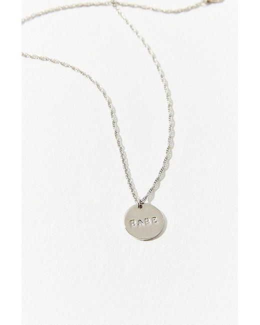 Urban Outfitters - Metallic Etched Babe Pendant Necklace - Lyst