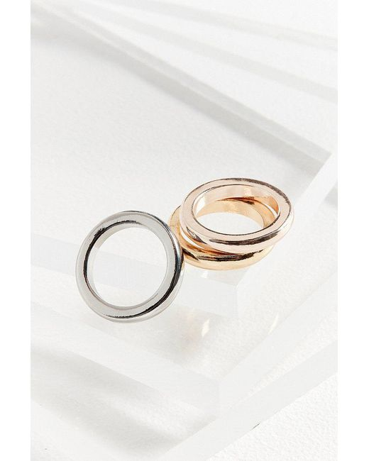 Urban Outfitters | Metallic Mixed Metal Ring Set | Lyst