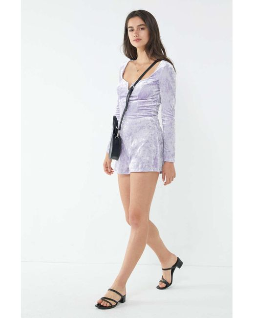 2a4f9a8958e ... Urban Outfitters - Purple Uo Sasha Crushed Velvet Romper - Lyst ...