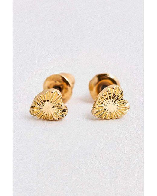 Urban Outfitters - Metallic Facet Heart Stud Earrings - Lyst