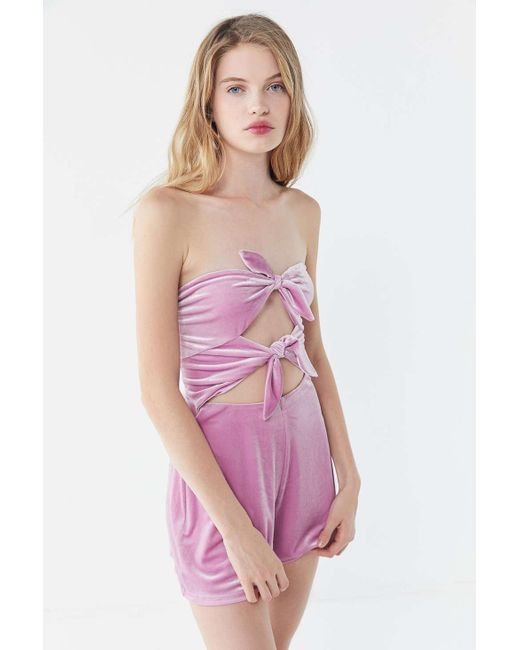 af6ee2be2e5 Urban Outfitters - Pink Uo Maddie Velvet Tie-front Romper - Lyst ...