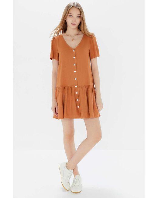 9e1860b6212d Urban Outfitters - Orange Uo Houston Linen Button-front Drop Waist Dress -  Lyst ...