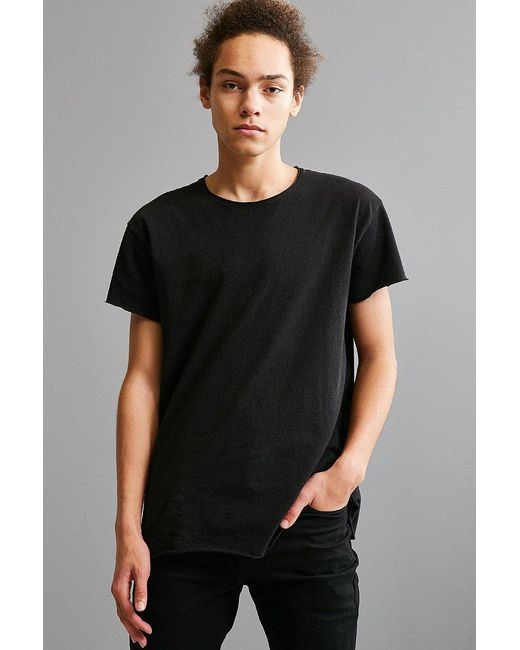 Urban Outfitters | Black Franklin Wide Neck Raw Cut Tee for Men | Lyst