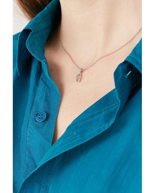 Urban Outfitters - Metallic Rhinestone Wishbone Necklace - Lyst