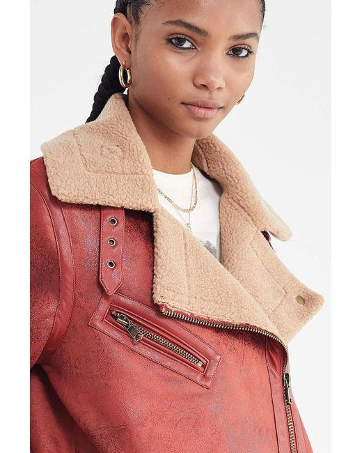 ... Urban Outfitters - Red Uo Oversized Faux Leather Aviator Jacket - Lyst  ... 2f48c149c