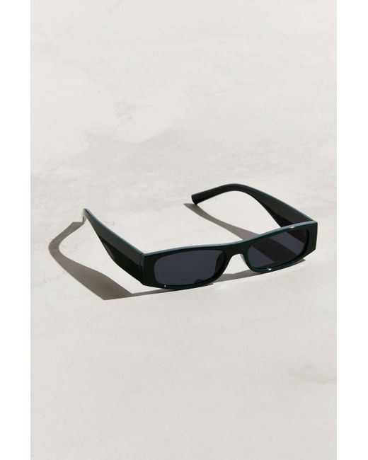 70a92a3d22 Urban Outfitters - Green Thick Temple Narrow Rectangle Sunglasses for Men -  Lyst ...