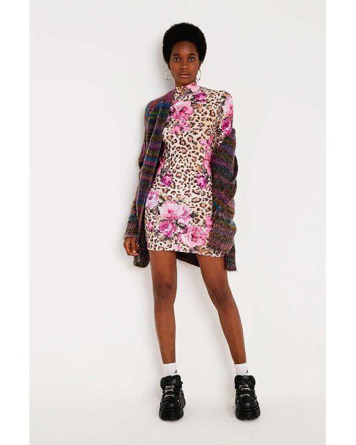 Urban Renewal - Pink Remnants Floral Leopard Funnel Dress - Lyst ... a9845e8a1