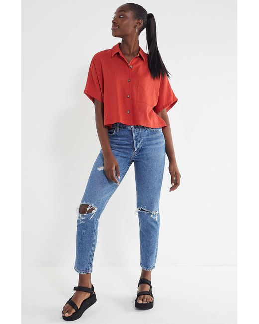 04112c5d ... Urban Renewal - Red Remnants Linen Button-down Shirt - Lyst ...
