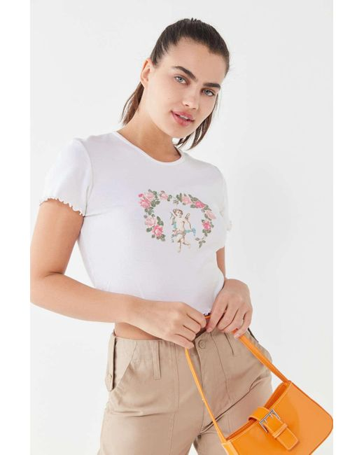 ba087350bad681 ... Truly Madly Deeply - White Cherub Lettuce-edge Baby Tee - Lyst ...