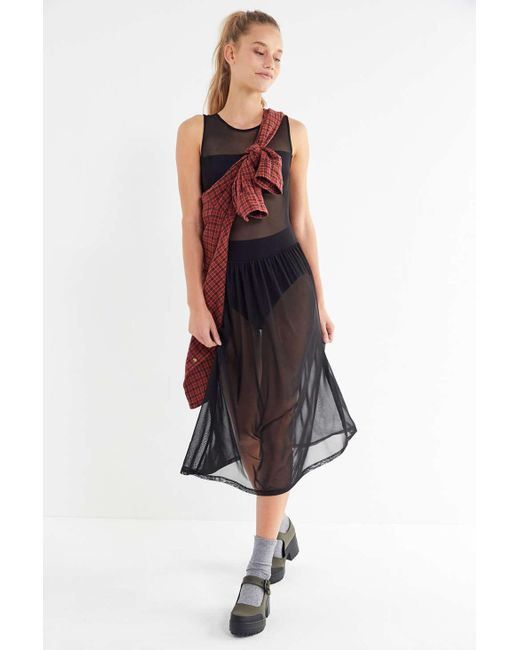 05024d94b0 Urban Outfitters - Black Uo Sheer Mesh Midi Dress - Womens Xs - Lyst ...