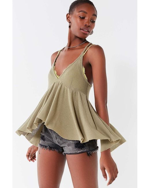 Urban Outfitters - Green Uo Lola Thermal Babydoll Tank Top - Lyst