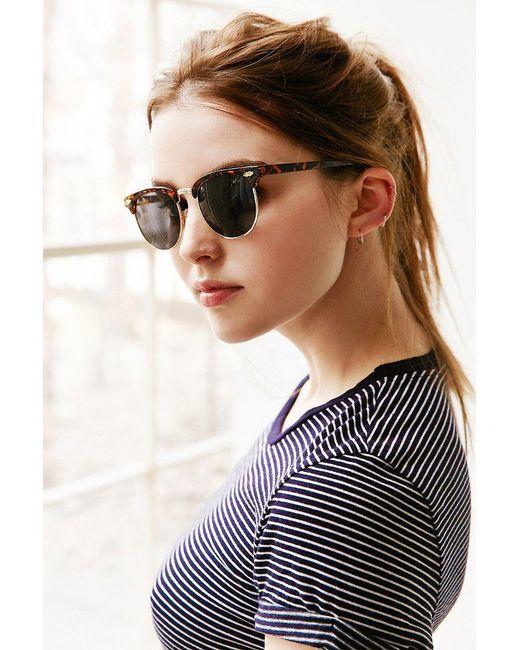 Urban Outfitters | Brown Skylar Half-frame Sunglasses | Lyst