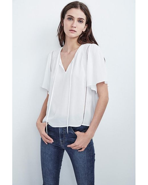 Velvet By Graham & Spencer | White Juna Rayon Challis Swing Tie Top | Lyst