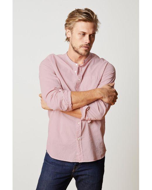 Velvet By Graham & Spencer - Pink Heath Collarless Woven Cotton Shirt for Men - Lyst
