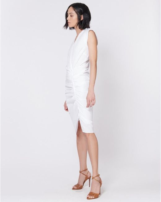 4aead917c89 Veronica Beard - White Ruched Shirt Dress - Lyst ...