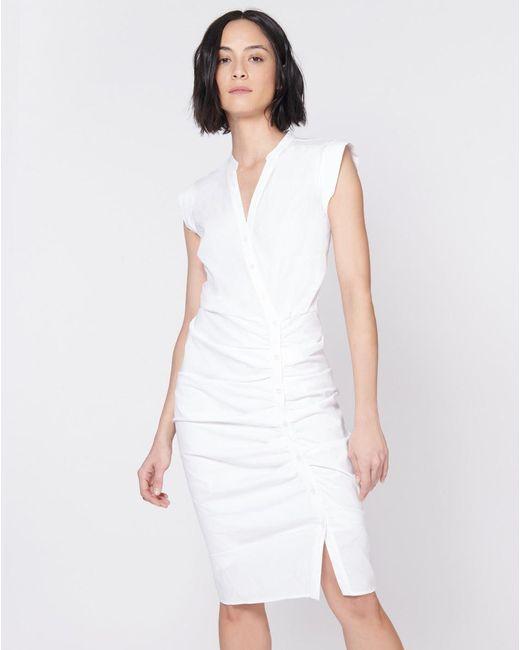 270f24e1cde ... Veronica Beard - White Ruched Shirt Dress - Lyst ...