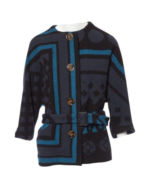 Burberry - Blue Wool Coat - Lyst