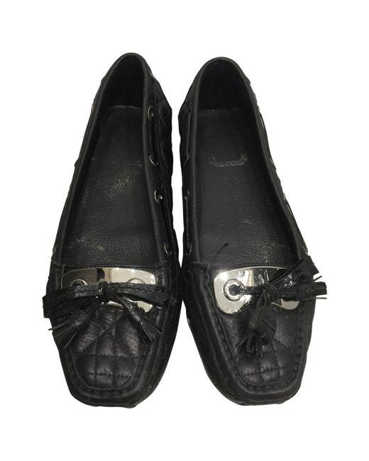 Dior - Black Leather Flats - Lyst