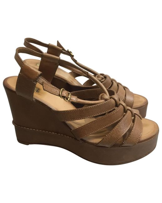 Chloé - Brown Pre-owned Leather Sandals - Lyst