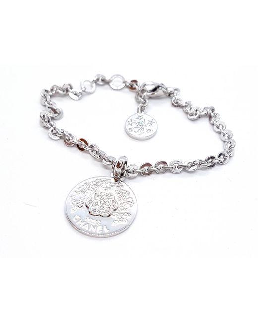 Chanel - Metallic Camélia White Gold Bracelet - Lyst