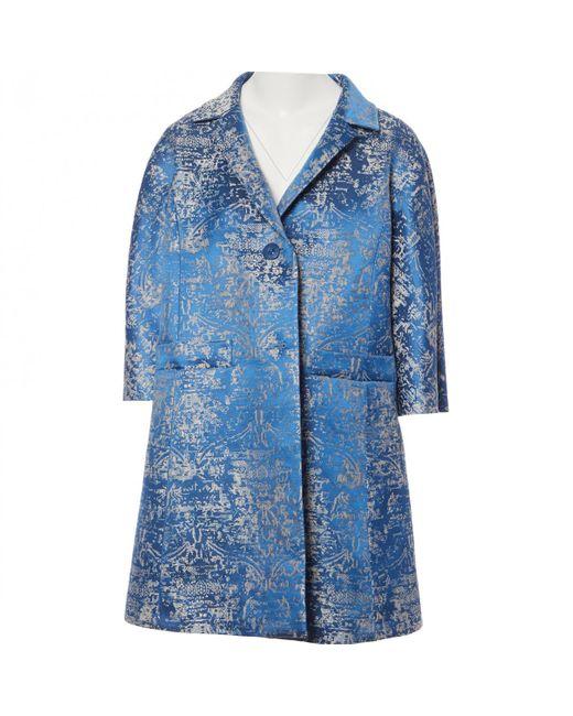 Etro - Blue Polyester Coat - Lyst