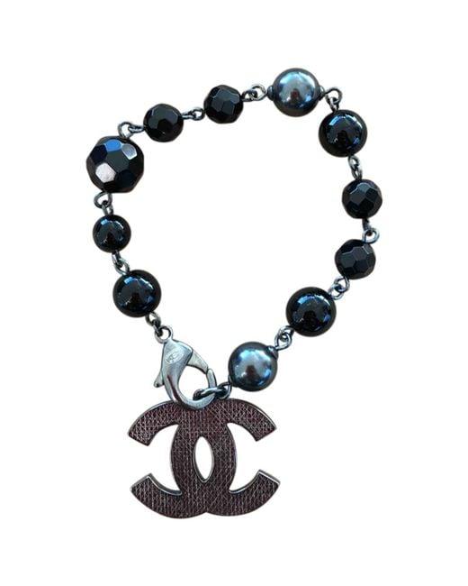 Chanel   Black Metal Bracelet   Lyst