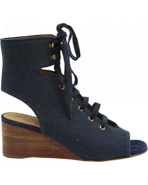 Chloé - Blue Pre-owned Navy Cloth Sandals - Lyst