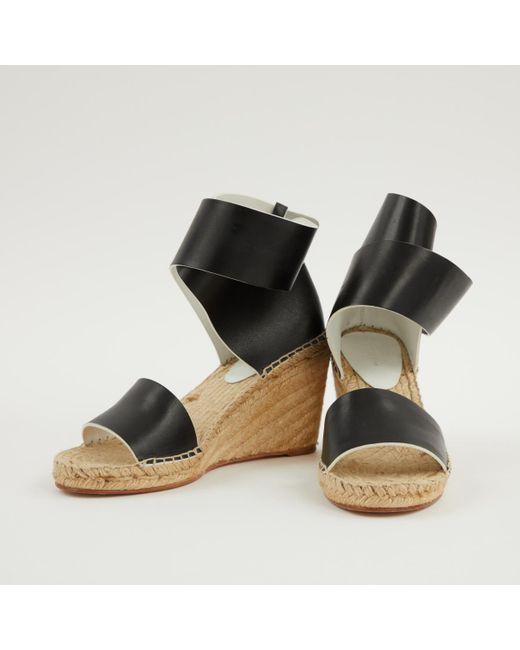 73f056211eb Céline Black Leather Espadrilles in Black - Save 40% - Lyst