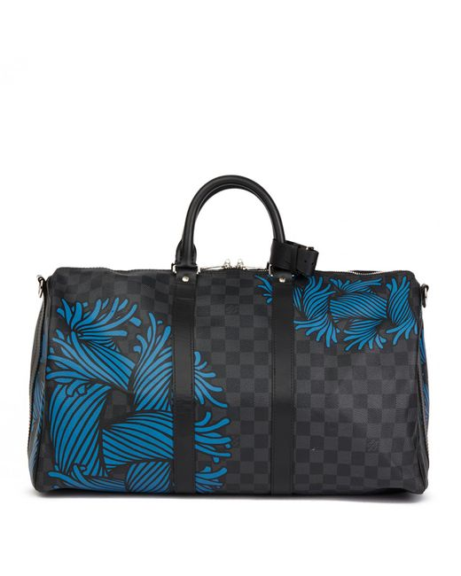 Lyst - Louis Vuitton Keepall Other Cloth Bag in Blue for Men 239ab60c1716e