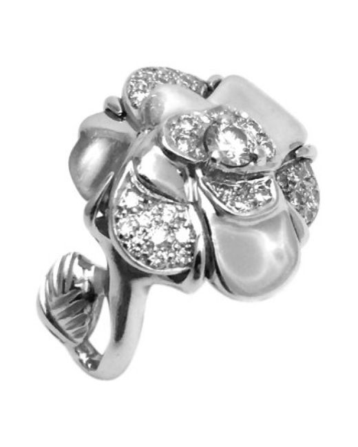 Chanel | Metallic Pre-owned Camélia White Gold Ring | Lyst