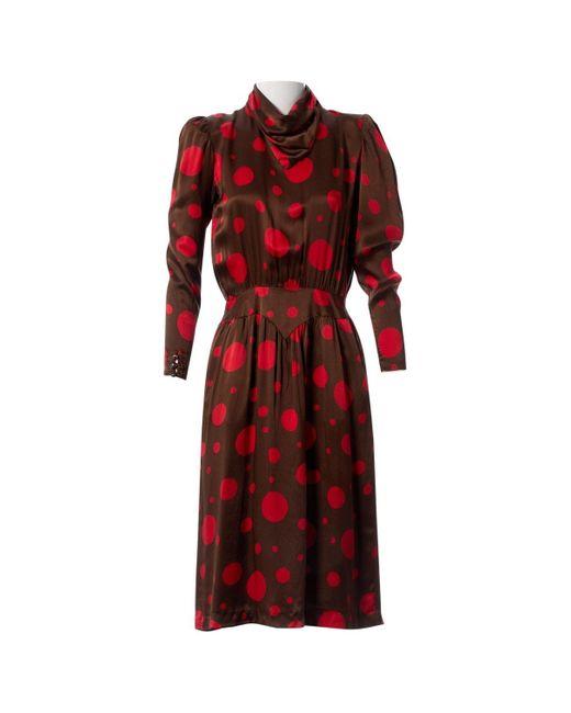 Valentino Brown Silk Dress