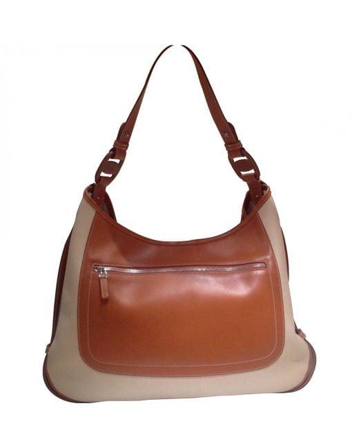 Ferragamo - Natural Pre-owned Beige Leather Handbag - Lyst